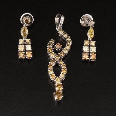 18K 1.45 CTW Diamond Necklace and 1.70 CTW Diamond Earrings