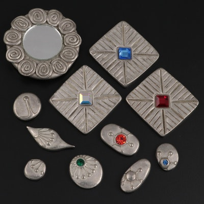 Todd Oldham Designs Metal and Glass Buttons and Hand Mirror, 1990s