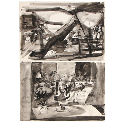 Betty Klavun Abstract Expressionist Ink Paintings