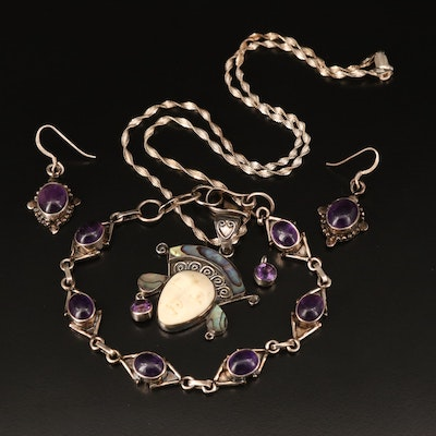 Sterling Jewelry Including Bone, Abalone and Amethyst