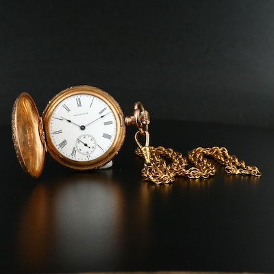 1906 Waltham Hunting Case Pocket Watch with Chain Fob