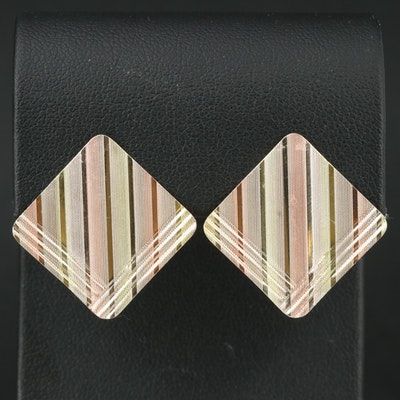 14K Tri-Color Textured Button Earrings