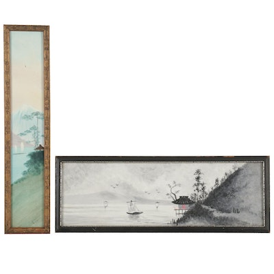 East Asian Inspired Gouache Paintings of Boats on Water