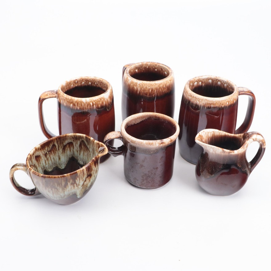 Hull and Others Glazed Ceramic Mugs and Cream Pitchers, Mid-20th Century