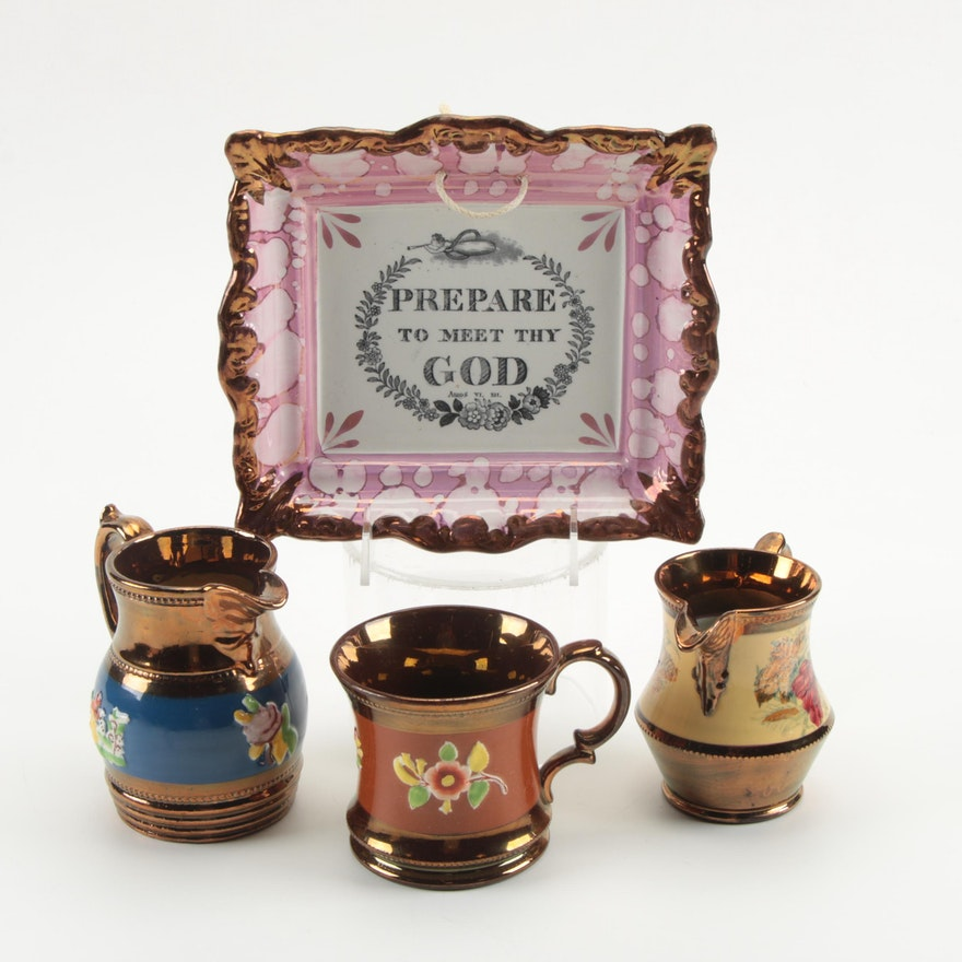 Sunderland Pink Luster Motto Plaque with Other English Ceramic Copper Luster