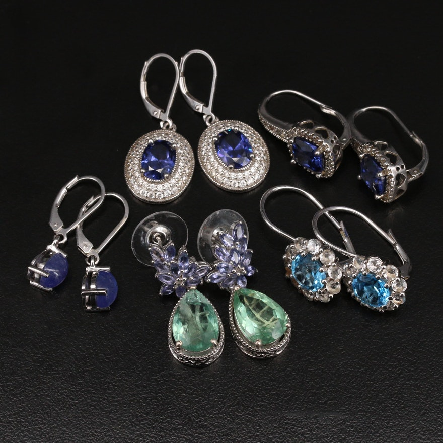 Tanzanite, Topaz and Cubic Zirconia Earrings Including Sterling Silver