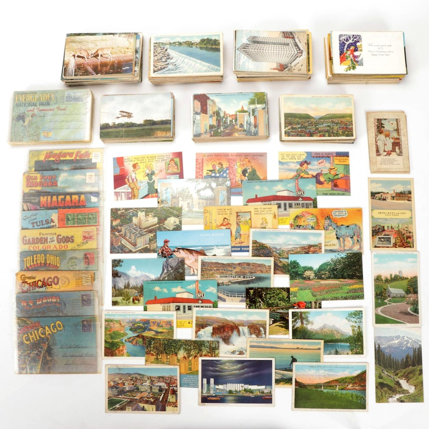 Collection of Linen and Gloss Postcards, Early to Mid 20th Century