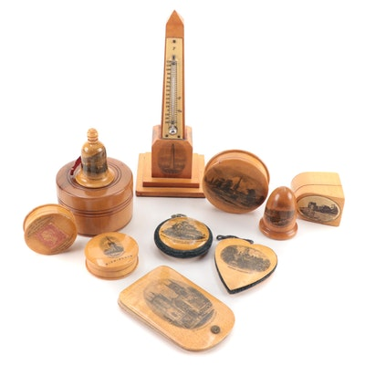 Mauchline Ware Souvenirs and Treen Wooden Nesting Boxes, Antique