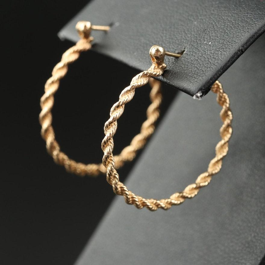 14K Rope Hoop Earrings