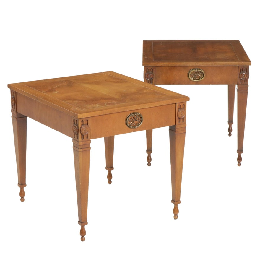 Pair of Baker Furniture Directoire Style Walnut Side Tables