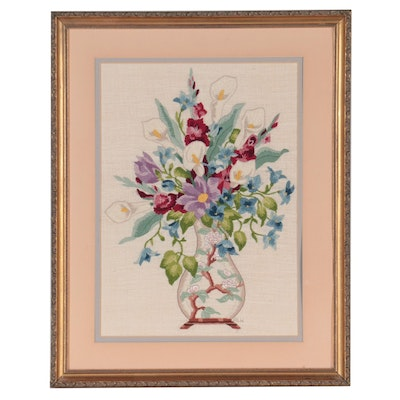 Handmade Embroidered Still Life Wall Hanging, Late 20th Century