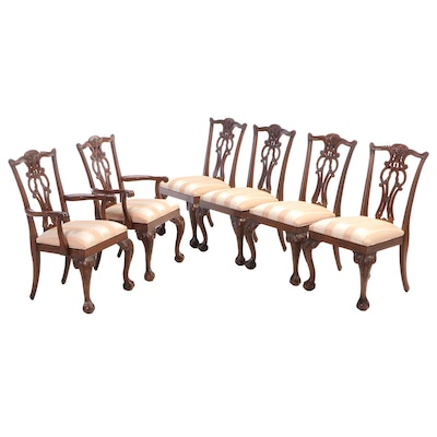 Six Ethan Allen Chippendale Style Mahogany Dining Chairs