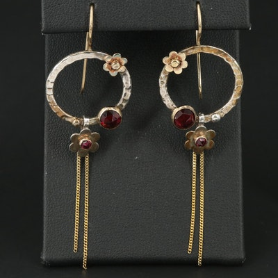 14K and Sterling Rhodolite Garnet Earrings