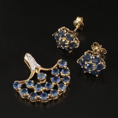 Sterling Silver Sapphire Cluster Earrings and Fanned Pendant