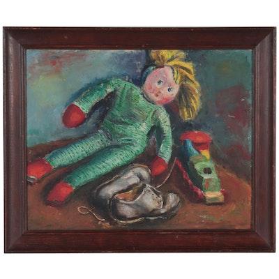 Still Life Oil Painting of Children's Toys, Mid-20th Century