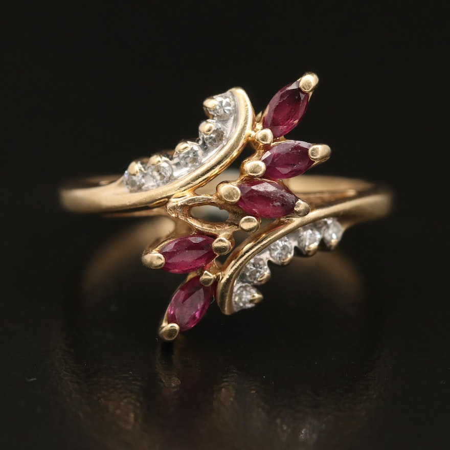 14K Ruby and Diamond Bypass Ring