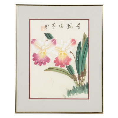Chinese Still Life Gouache Painting of Orchids