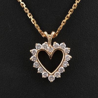 14K Diamond Heart Pendant Necklace