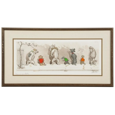 """Boris O'Klein Hand-Colored Etching """"Comme nos maîtres,"""" Mid to Late 20th Century"""
