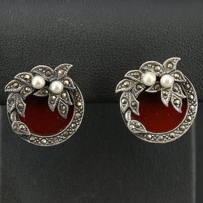 Sterling Carnelian, Faux Pearl and Marcasite Earrings