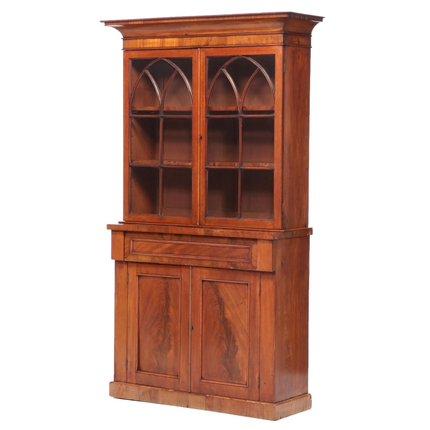Federal Style Flame Mahogany Bookcase, Mid to Late 19th Century