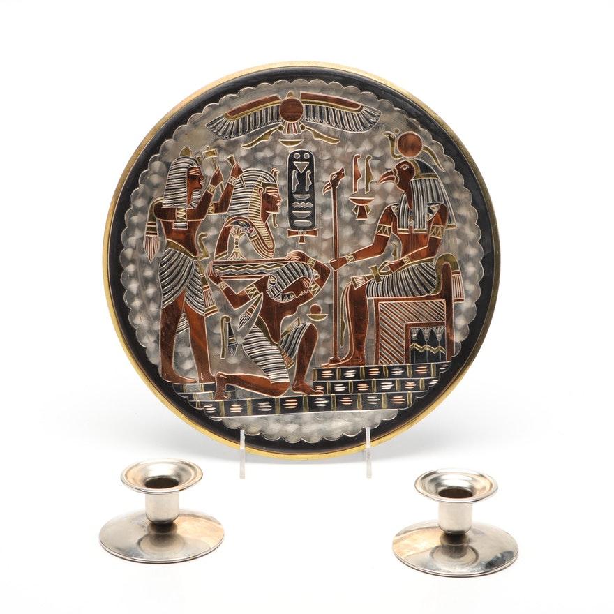 Egyptian Metal Wall Hanging and Candle Holders