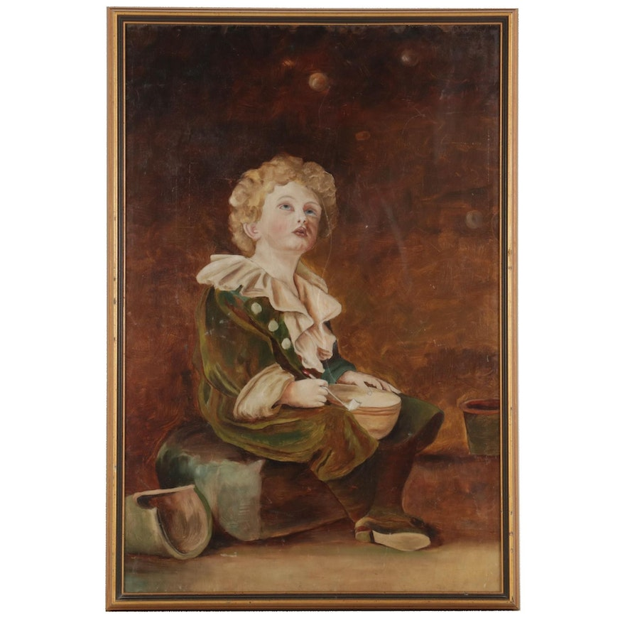 """Oil Painting After John Everett Millais """"Bubbles,"""" Early-Mid 20th Century"""