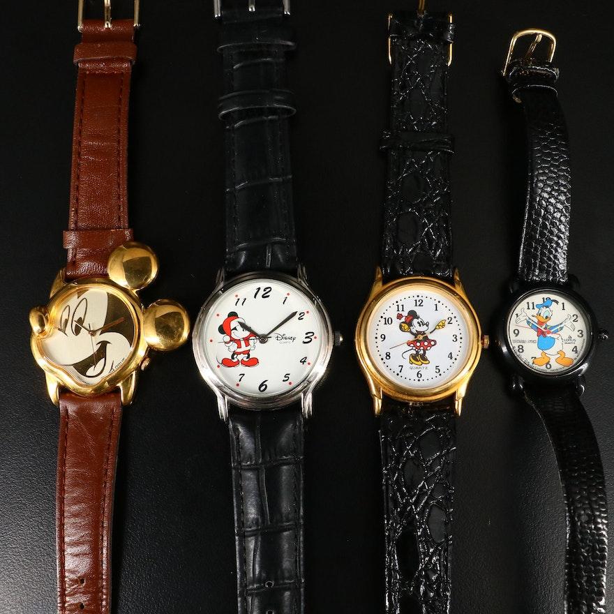 Four Disney Character Quartz Wristwatches