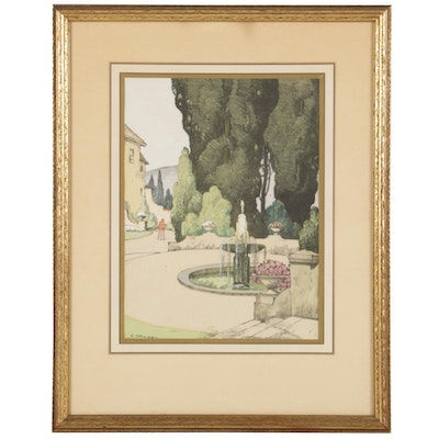 George Stimmel Hand-Colored Lithograph of Fountain, Early to Mid-20th Century