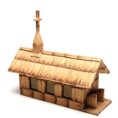 Handmade Matchstick Figural Church Model and Accent Lamp