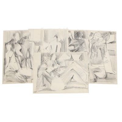 Betty Klavun Abstract Charcoal Drawings