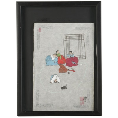 Chinese Gouache Painting of Children Relaxing and at Play