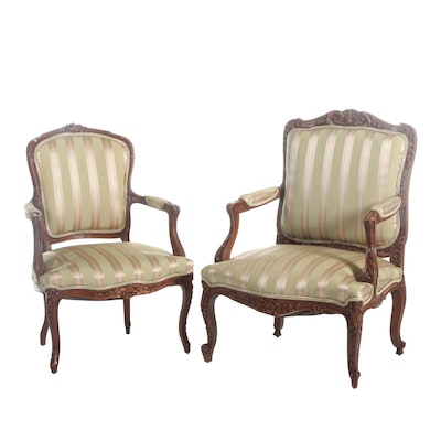 Louis XV Style Carved Beech and Upholstered Fauteuils, 20th Century