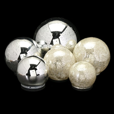Light-Up Crackle Spheres and Mercury Glass Globes, Contemporary