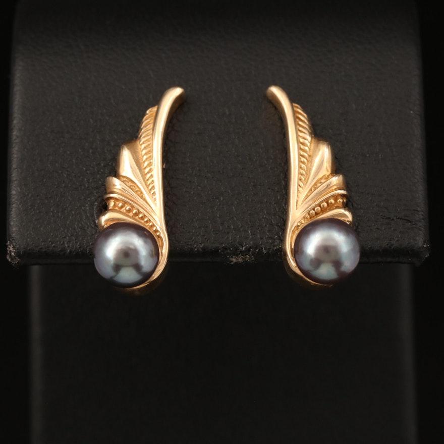 14K Pearl Winged Ear Climbers