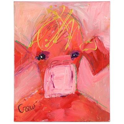 "Susan Crew Mixed Media Painting ""Pink Cow in Tiara"""