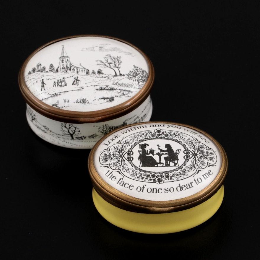 Halcyon Days Bilston & Battersea Revival Enameled Trinket Boxes