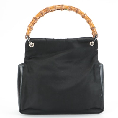Gucci Bamboo Top Handle Bag in Black Nylon and Leather