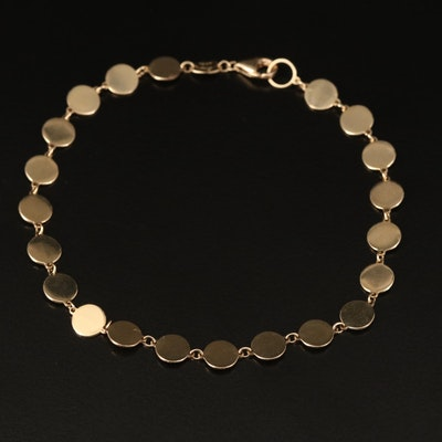 14K Disk Link Bracelet