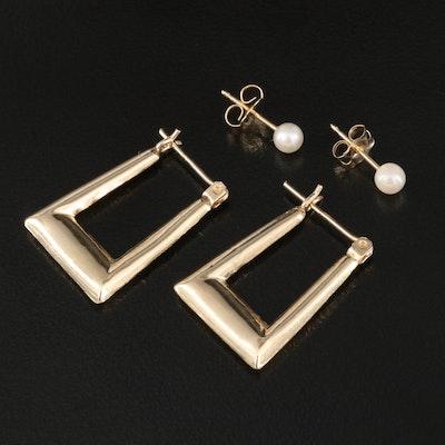 14K Pearl Stud Earrings with Rectangular Hoop Earrings