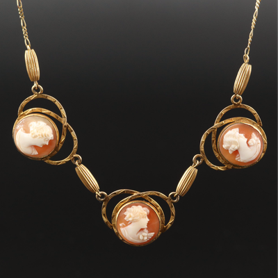 Gold Filled Shell Cameo Pendant on 14K Link Necklace
