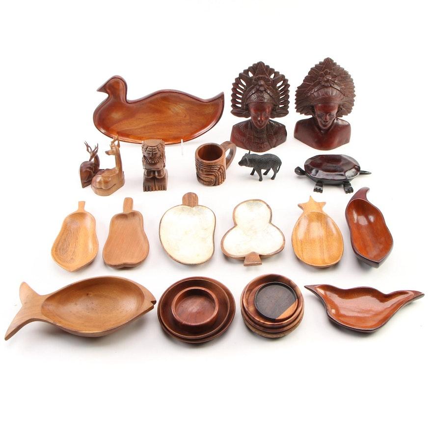 Polynesian and Hawaiian Exotic Hardwood Bowls, Dishes and Figurines