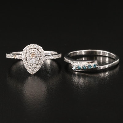 Sterling Silver Diamond and White Zircon Rings