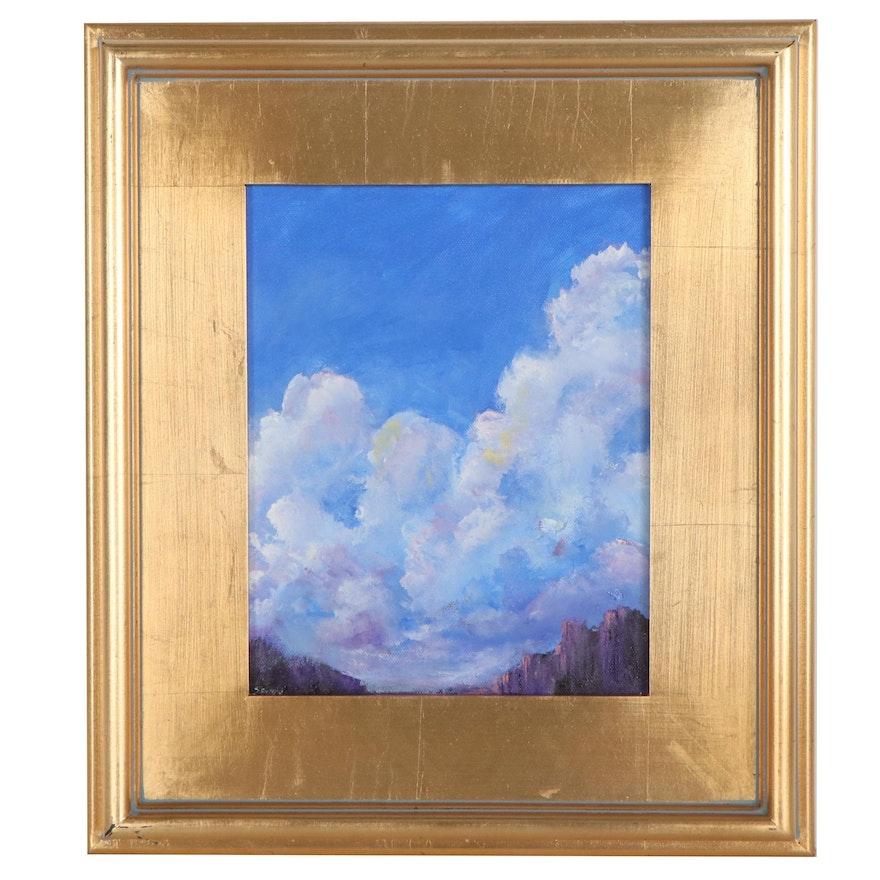 """Sanna Acrylic Painting """"Cloudy Sky,"""" 2021"""