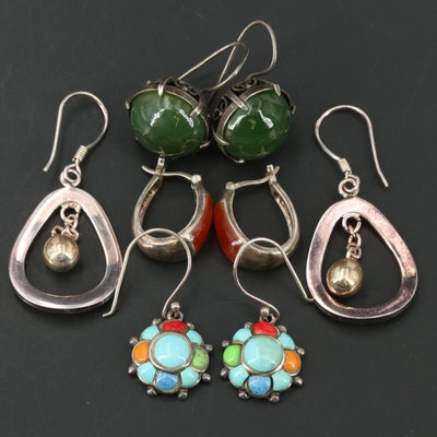 Sterling Earrings Including 875 Silver, Nephrite, Faux Turquoise and Enamel