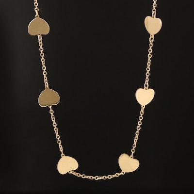 14K Heart Station Necklace