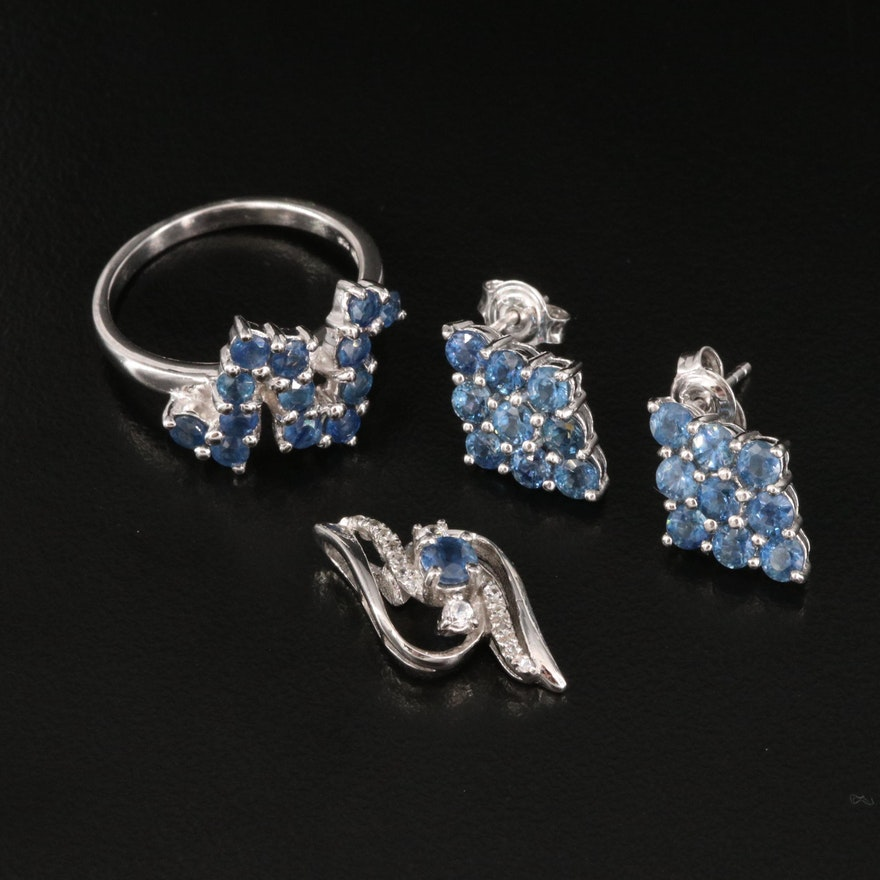 Sterling Silver Sapphire and White Zircon Jewelry