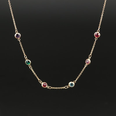 14K Bezel Set Multi-Gemstone Station Necklace