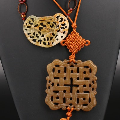 Chinese Beaded Lock and Endless Knot Tassel Pendant Necklace