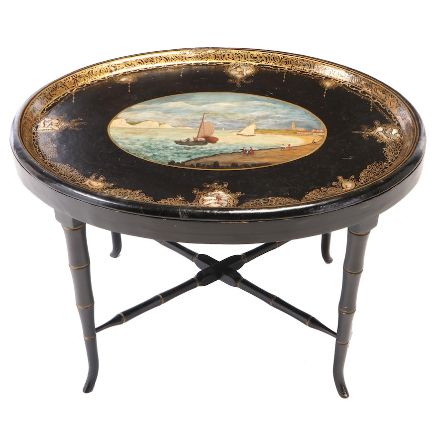 Victorian Gilt, Polychromed Shell-Inlaid Papier-Mâché Tray-on-Stand
